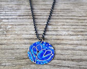 Vintaj Jewelry, Vintaj Necklace, Flower Jewelry, Handmade Necklace, Brass Jewelry, Embossed Metal Jewelry, Hand Painted Metal, Blue Jewelry