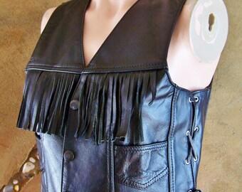 Black Leather Vest, Fringe Vest Black, fringed Leather,  size S / M