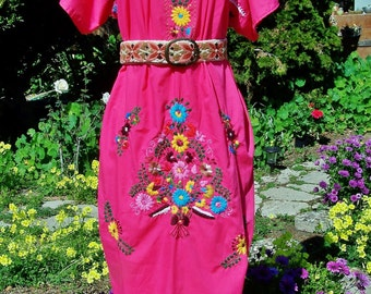 Mexican dress Rose Pink embroidered flower basket size XL