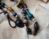 Stone Diary--Artisan Collier Necklace with Stoneware, Porcelain, Hand-Dyed Bone, Lampwork, Mala Yakbone, and Faience Beads