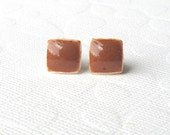 Small Russet Earrings. Squares. Ceramic. Rust. Ginger. Clay. Burnt Orange. Porcelain. Studs. Surgical Steel. Cube. Geometric. Minimalist