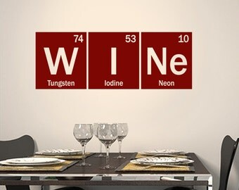 Periodic Table Wine vinyl decal - table of elements decor - Wine decal - science decal - geek sticker