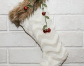 Two Fax Fur Christmas Stockings with Red Bells, Holiday Decor Cozy Christmas Stockings Holiday Decor Christmas Decorations