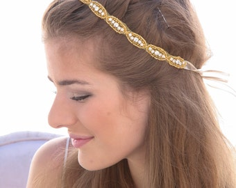 Gold Crystal Rhinestone Ribbon Tie Bohemain Bridal Headpiece in Gold, Rhinestone Wedding gown sash or Rhinetone Headpiece Crystal  Headband