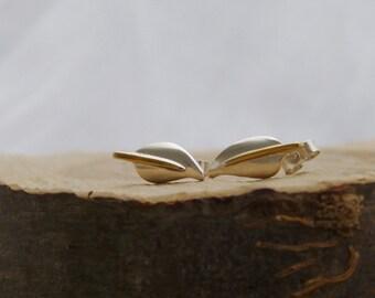 Silver Leaf ear stud with gold plated stem - wear sideways