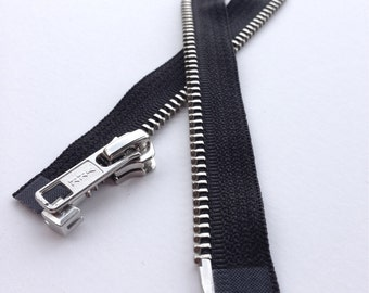 Separating Metal Zippers -Great For Doll Clothes! - YKK nickel teeth zips- (1) piece - Black 580- Number 5s- Available in 5 and 10 inches