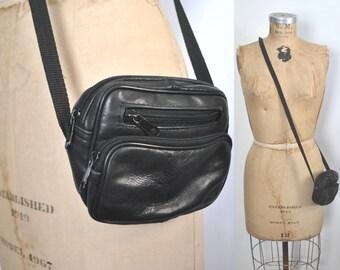 Tiny Black Genuine Leather Bag Purse