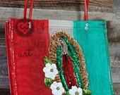 OOAK Mexican Market mesh tote bag embelished with sequins Virgen de Guadalupe