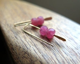 pink stone jewelry. small gold earrings. made in Canada.