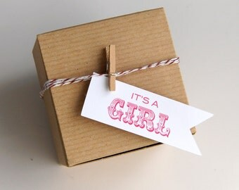 12 It's a Girl (circus) Baby Shower Favor Box Kit with Flag Tags . 3x3x2 Kraft Pinstripe Gift Box
