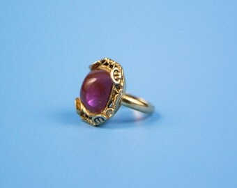 Vintage Adjustable Whiting and Davis Goldtone Ring with Pink stone