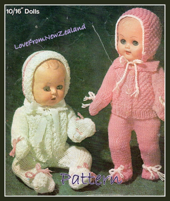 Knitting Patterns For Dolls Clothes To Download : PDF Pattern / Vintage Dolls Clothes Knitting Pattern / 8ply