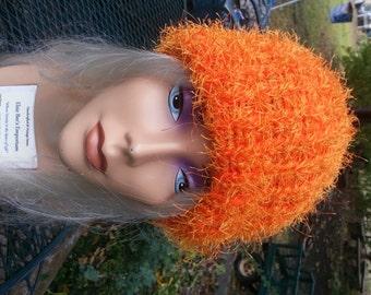 Safety Orange Ski Toboggan Cap Beanie Leukemia & Kidney Cancer Awareness Color - OOAK MWL from an EtsyMom
