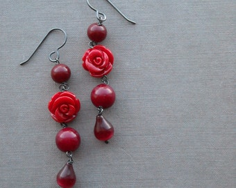 briar rose earrings - vintage lucite and sterling