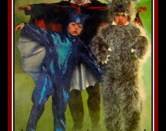 Vintage 1979-Spooktacular Bat Boy-Dashing Dracula-Howling Werewolf-Kid's Costume Sewing Pattern-Contrast Capes-Faux Fur-Hoods-Size 8-10-Rare