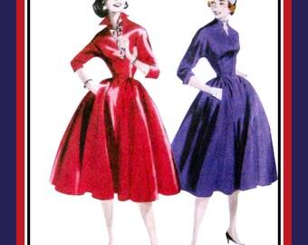 1955-FAB FIFTIES DRESS-Wing Collar-Full Flirt Twirl Skirt-Sewing Pattern-Two Styles-Kimono Sleeves-Cuffs-Nipped Waist-Uncut-Size 16-22-Rare