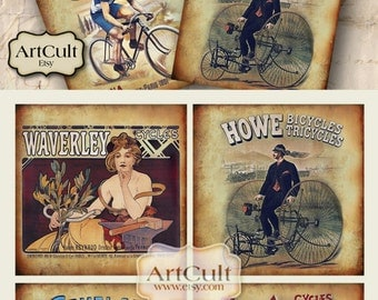 3.8x3.8 inch Images CYCLES Digital Collage Sheet AD Vintage Printable download for Coasters Greeting cards Magnets Gift tags by ArtCult