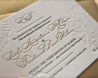 Black and Gold Letterpress Wedding Invitations, Blind Emboss Invitations, Peony Floral  Wedding Invitations DEPOSIT