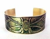 Etched Brass Spider Cuff Bracelet