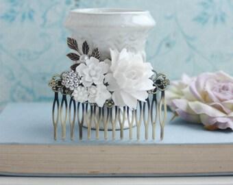 White Flowers Large Comb, Rose, Pearl, Rhinestone Diamente, Leaf Sprig Antiqued Brass Hair Comb. White Vintage Rustic, White Bridal Wedding