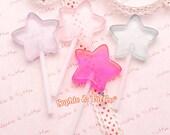 Glittery Pastel Star Lollipops   Candy Lollipops   Sparkle Lollipops   Fake Lollipops Decoration - 4pcs