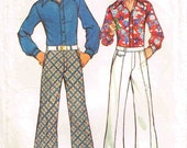 1970s Bell Bottom Pants Flat Front Teen Slacks Cuffs and Stretch Shirt Vintage Simplicity 5656 Waist 37 Chest 32