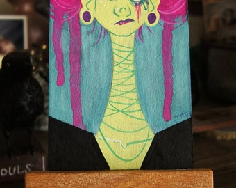 MINDBLEEDERS Mini Painting Series- JANICE (1 of 3) 2 x 3.5 in Gouache
