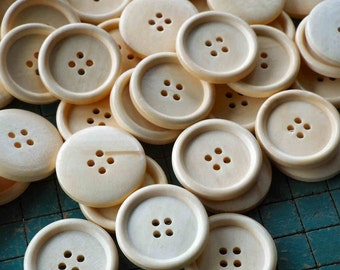 """28 large wood buttons, 1 1/8"""", natural wood with clear  finish, light color large natural wood buttons"""