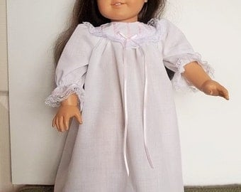"""SALE - Long white nightgown with a pintuck yoke, pink ribbon and lace trim fits 18"""" dolls like American Girl doll"""