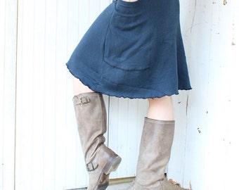 Short Hemp Passport Pocket Skirt - Organic Hemp/Cotton Jersey - Choose Your Color