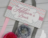 HAIR BOW HOLDER - Personalized Pink Grey Chevrons Dots HairBow Holder - Bows Clips Organizer Girls Personal Hair Bow and Clip Hanger Hb0013