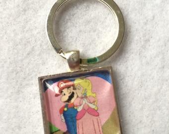 Mario and Peach Key Ring Wedding Holiday Christmas Gift