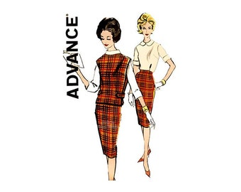 1960s Womens Clothing Pattern Advance 9659, Wiggle Skirt, Turtleneck or Peter Pan Collar Blouse, Poncho, Bust 36, Vintage Sewing Patterns