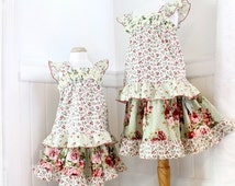 Floral Rose Girls Outfit Moss Green Red Pink Tiered Twirl Skirt & Top Set Boho Girls Clothes Childrens Clothes Size 2T 3T 4 5 6 7 8 10 12 14