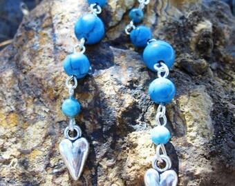 Long Turquoise Earrings w/Hearts