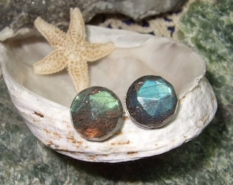Labradorescence Exists Rose Cuts 8mm Faceted Labradorite Stud Earrings Earings Titanium Post and Clutch Flash Sparkly Magic Hypo Allergenic