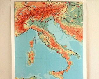 vintage wall chart, Dutch educational poster with map of Italy