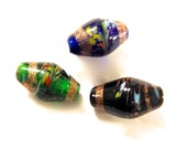 Vintage Lamp Work Fused Glass Beads x 6