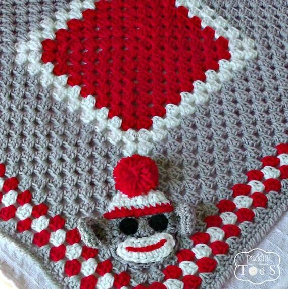 Items similar to Crochet Baby Blanket - Sock Monkey ...