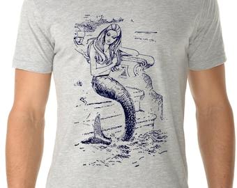 mermaid tshirt - mermaid shirt - mens tshirts - mermaid gift - nautical shirt - beach shirt -surf shirt - surf tshirt - MERMAID - crew neck