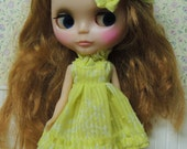 Short Bright Yellow Ruffle dress with matching Hair bow