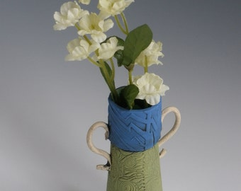 Vase with Attitude, Bud Vase, GIFT FOR HER, Clay Flower Vase, Stamped Vase, Flower Vase, Ceramic Vase