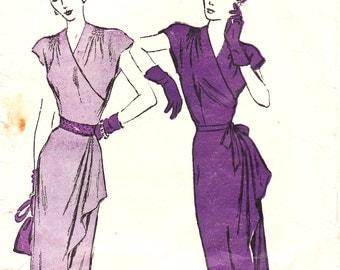 Advance 4534 - vintage 1940s wrap-effect dress sewing pattern - bust 38
