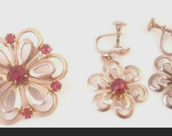 Flower Copper Pin and Earrings with Red Rhinestones