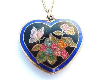 Vintage Cloisonne Heart Pendant Necklace Butterfly Flowers Enamel Jewelry 29 inch 12k Filled Long Chain