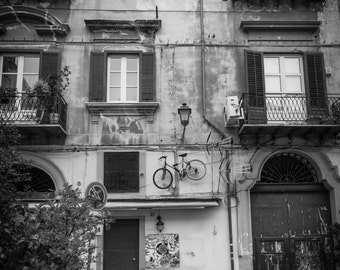Bike Parking Fine Art Photography Black and White Bicycle Palermo Sicily Ancient city balcony quirky fun old building large wall art Italy
