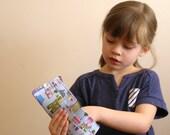 Children's wallet - neighborhood houses design - gifts under 25 for kids - zippered coin section - billfold