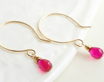 Pink Drop Earrings, Magenta Pink Gemstone Jewrlry, Everyday Minimal Jewelry, Pink Quartz , Gift for Her