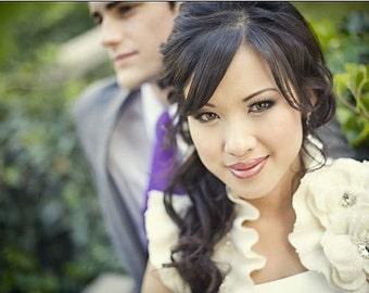 Wedding Bolero, Shrug, Felt, Silk, Cashmere, Australia Merino, Best Seller , Ivory, Brooch /The Enchated Garden/