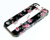 iPhone 6S Case Monogram Personalized Phone Case - Garden Floral in Black - Samsung Galaxy, iPhone 5S  iPhone 6 Plus